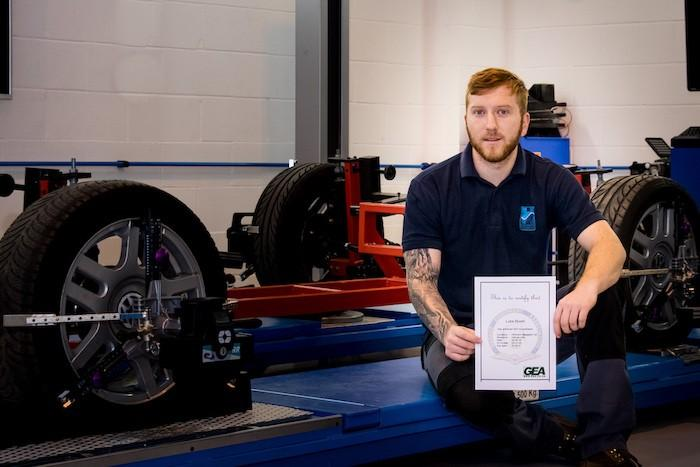 Luke Rivett of Hofmann Megaplan with his GEA accreditation in the discipline of Vehicle lifts