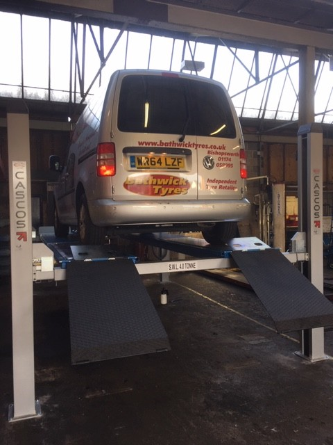 Installed at the same Bathwick site in Bristol, another Cascos C455 4 tonne four post lift for their alignment services with a commercial van loaded.