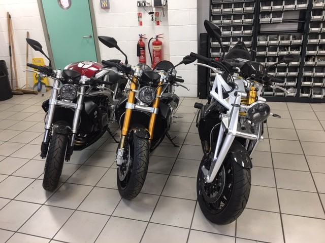 Ariel Ace motorbike models manufactured and ready for the road.