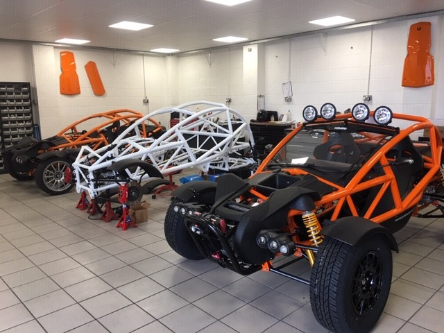 The famous Ariel Atom model, showcasing various stages of production.