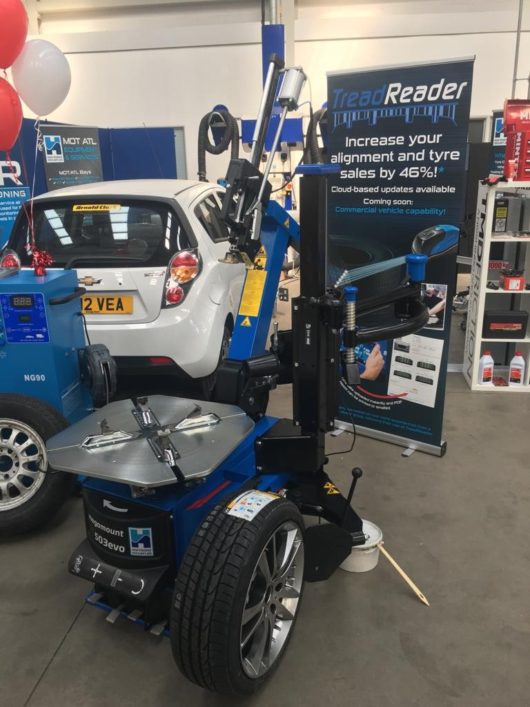 megamount 503 tyre changer ready for demo at Glasgow based Trade Show