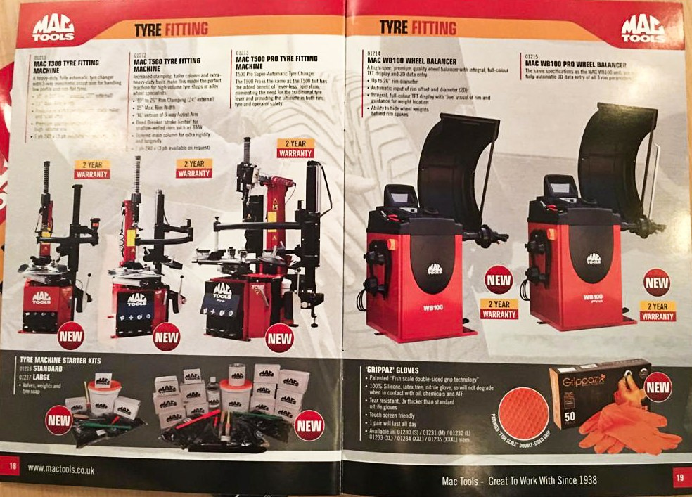 THE MAC TOOLS TYRE FITTING LINE UP, SUPPLIED BY HOFMANN MEGAPLAN