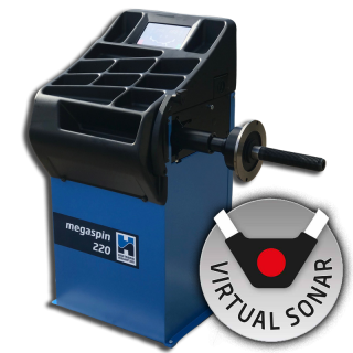 The brand new megaspin 220 wheel balancer now available with virtual sonar rim width detection.